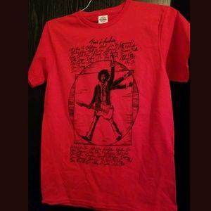 🍎 🆕️ Jimi Hendrix T-Shirt Red Tee Guitar God